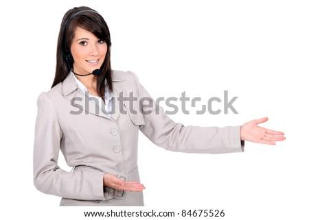 Operator on white background - stock photo