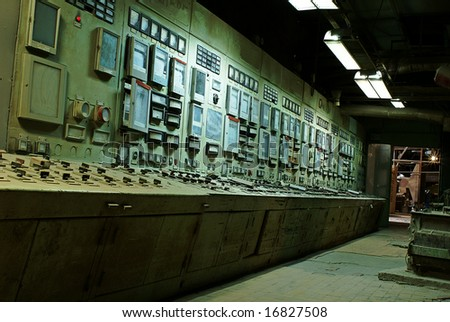 operator room at old power plant - stock photo