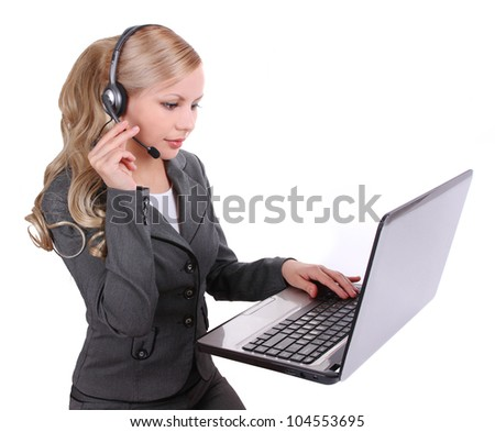 operator with laptop, business customer support isolated on white,  blonde beautiful serious girl