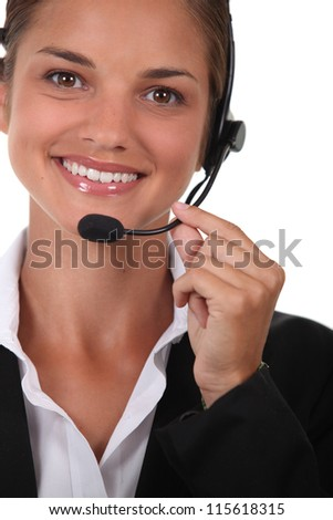 Operator with microphone - stock photo