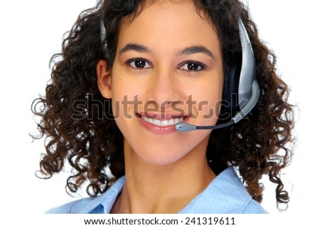 Operator woman in headphones isolated white background - stock photo