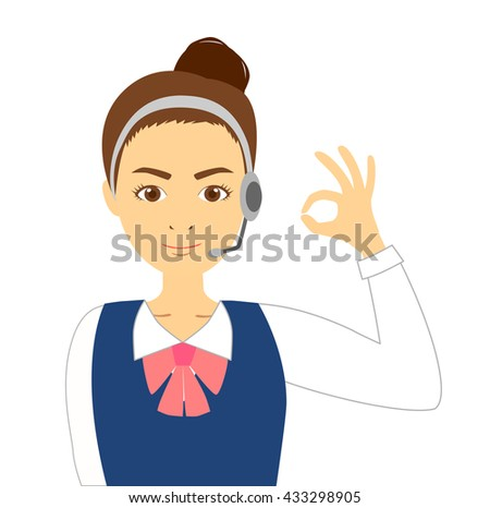 Operator woman to the okay sign - stock photo