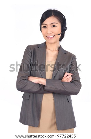 operator woman with headset smiling looking at camera. - stock photo