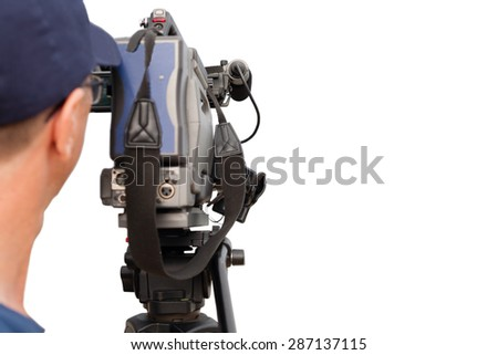 Operator works with a video camera. Isolated on white background. - stock photo
