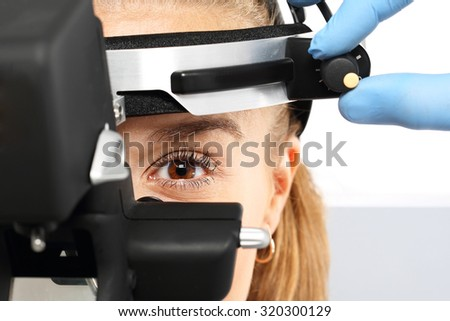 Ophthalmologist - binocular sight glass, ophthalmoscope.Ophthalmologist examines the eyes using a ophthalmic device