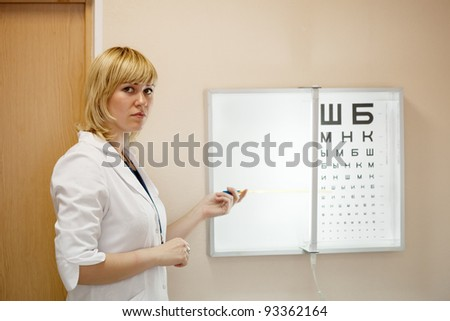 ophthalmologist testing  eyesight with letter table - stock photo