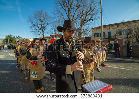 OPICINA,TRIESTE, ITALY - FEBRUARY 6: Unidentified participants in parade of the Carnival. Kraski Pust o Carnevale Carsico. The Carnival Carsico Kraski on February 6, 2016