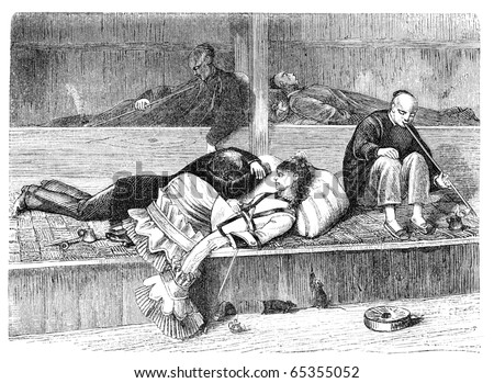 "Opium Den in San Francisco. Illustration originally published in Hesse-Wartegg's ""Nord Amerika"", swedish edition published in 1880. The image is currently in public domain by the virtue of age. - stock photo"