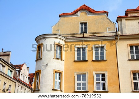 Opole, Poland - city architecture. Residential architecture at main square (Rynek).