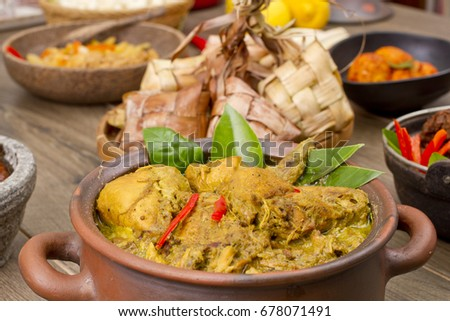 opor ayam, Indonesian chicken curry, Indonesian food