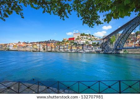 Oporto or Porto city skyline, Douro river and Dom Luis or Luiz iron bridge. Portugal, Europe. - stock photo