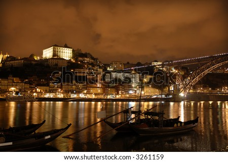 oporto town by night in the north of portugal - stock photo