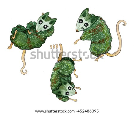 Opossum, mouse, rat, character green - stock photo