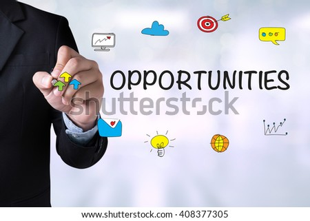 OPPORTUNITIES and Businessman drawing Landing Page on blackboard - stock photo