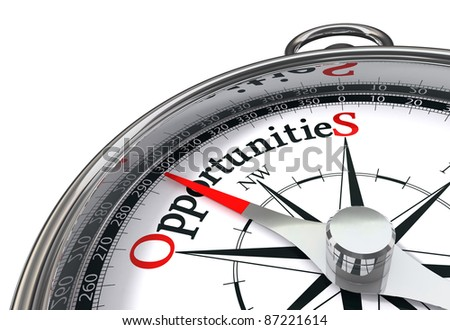 opportunities way indicated by concept compass on white background - stock photo