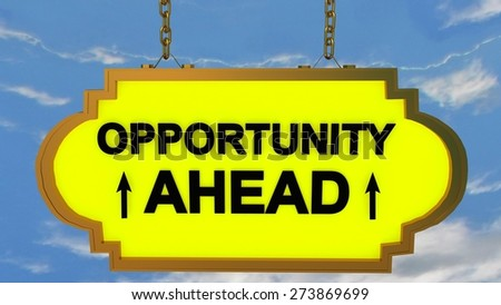 opportunity ahead road sign yellow - stock photo