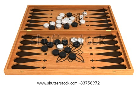 Opportunity: backgammon with chips and dice isolated over white