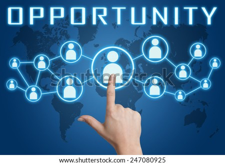 Opportunity concept with hand pressing social icons on blue world map background. - stock photo