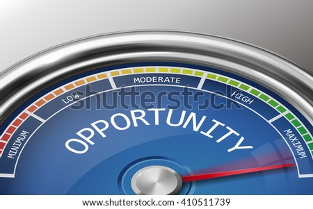 opportunity conceptual 3d illustration meter indicator isolated on grey background - stock photo