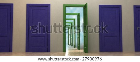 Opportunity knocks. Subtle conceptual metaphor. Good for business success, opportunities, job promotion etc. - stock photo