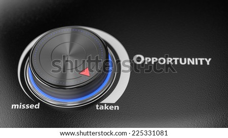 Opportunity level controler with blur effect. Render image for business and motivation concepts