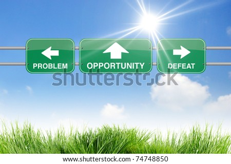 opportunity road sign on sky - stock photo