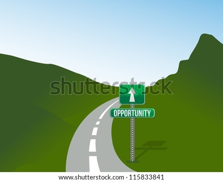 Opportunity road with sign landscape illustration design