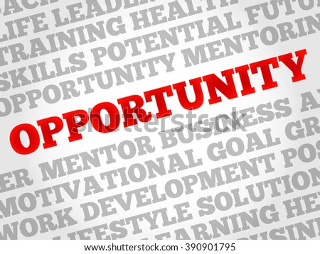Opportunity word cloud, business concept - stock photo