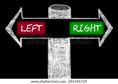 Opposite arrows with Left versus Right.Hand drawing with chalk on blackboard. Choice conceptual image - stock photo