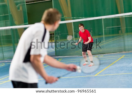 Opposite player is ready to next rally, focus on opposite player. - stock photo