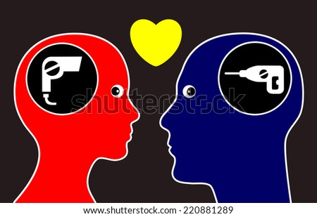 Opposites attract. Concept that man and woman are attracted to opposites personalities - stock photo