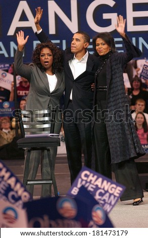 Oprah Winfrey, Barack Obama, Michelle Obama attending Barack Obama Campaign Rally for Democratic Presidential Primary with Oprah Winfrey, The Verizon Wireless Arena, Manchester, December 09, 2007 - stock photo