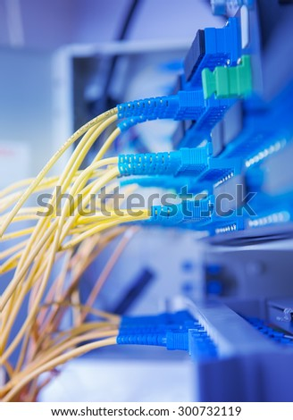 optic fiber cables connected to hub