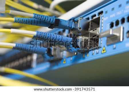 optic fiber cables connected to transmission controller with selective focus