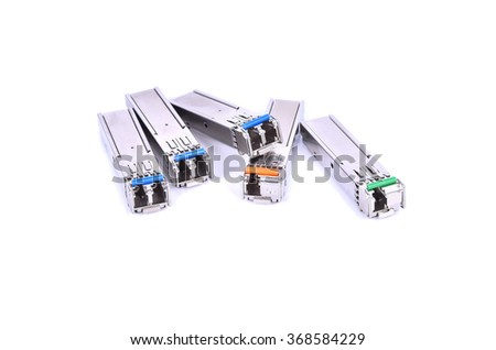 Optic fiber with connector isolated on white background