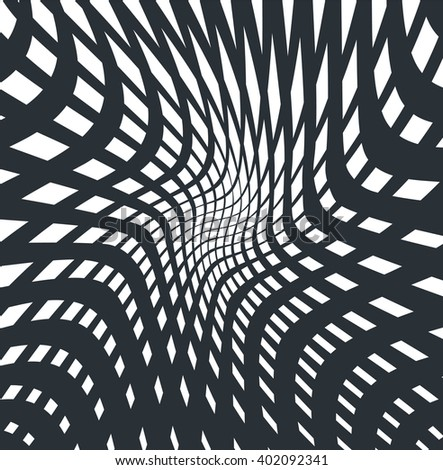 optical art opart striped wavy background abstract waves black and white grid - stock photo