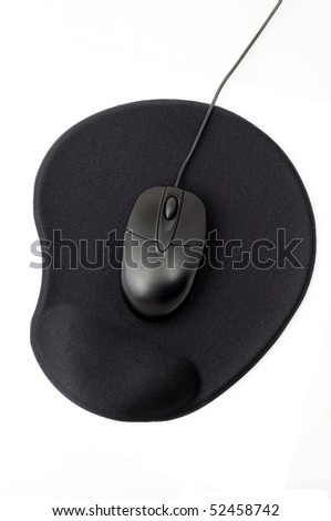 optical computer mouse on gel pad - stock photo