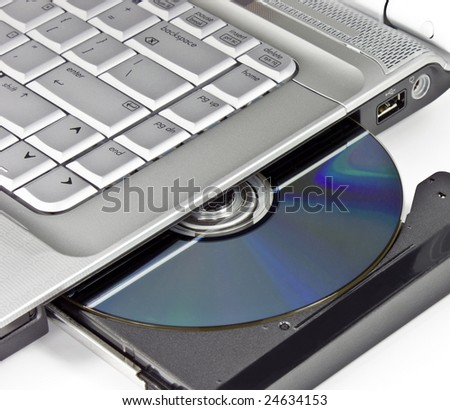 Optical disc placed in a laptop drive