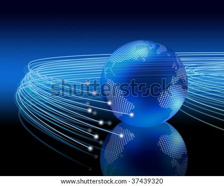 Optical fibers lights speeding on dark background around the digital earth globe - stock photo