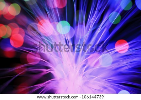 Optical fibers of fiber optic cable. Internet technology - stock photo