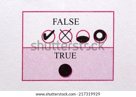 Optical form with true and false - stock photo