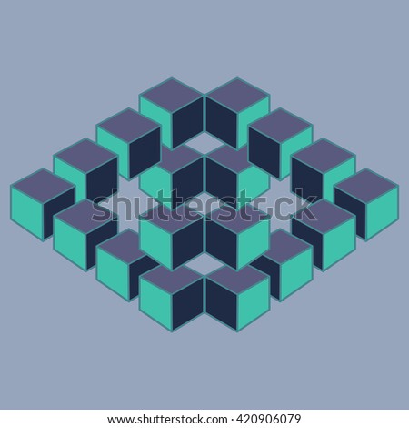 Optical illusion, abstract geometric design element, illusion symbols, Impossible sign - stock photo