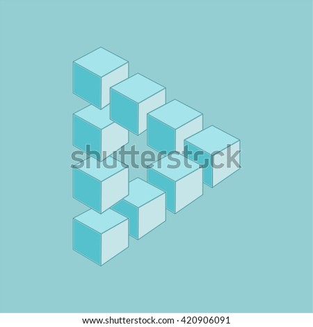 Optical illusion, abstract geometric design element. Printoptical illusion symbols, Impossible sign. Monochrome design - stock photo