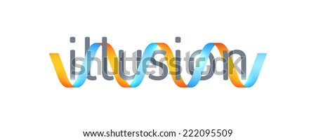 Optical illusion concept, abstract logo design template,  symbol, icon or sign - stock photo