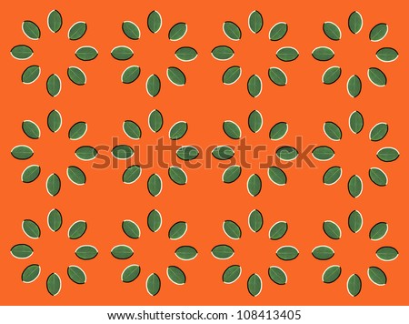 Optical illusion: rotation of circles made from green leaves isolated on orange background - stock photo