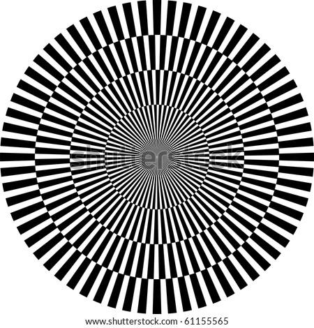 optical illusion round - stock photo