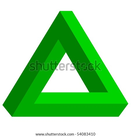 Optical illusion, twisted triangle - stock photo