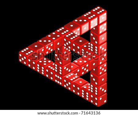 Optical Illusion with dice 03 - stock photo