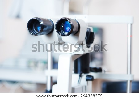 optical medical devices used in ophthalmology for eyesight examination - stock photo