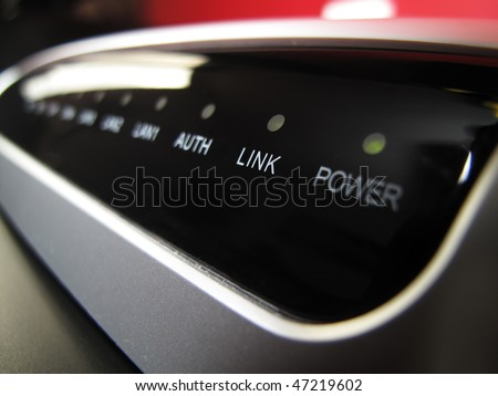 Optical Network Terminator closeup of an FTTH installation - stock photo